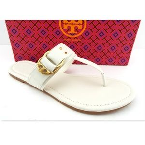 NIB TORY BURCH Ivory Leather Thong Logo Sandals 10